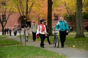 Students walk through Harvard Yard on their way to class.