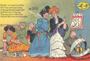 Postcard featuring women in Leap Year 1908 eagerly await their chance to propose.